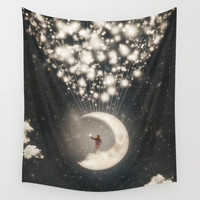 The Big Journey of the Man on the Moon Wall Tapestry by Paula Belle Flores
