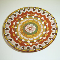 Vintage Bulgarian folk Hand Painted Red Clay Plate Traditional plate, Rustic Home Decor, folk art Decorative plate