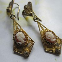 Vintage Deco 800 Silver Gilt Pierced Cameo Earrings