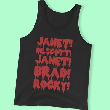 Rocky Horror Janet Brad Dr Scott Frank N Furter Horror Musical Movie Cult Film Men'S Tank Top