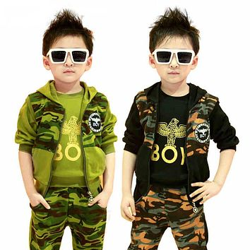 Kids clothing sets for boys spring & autumn child sports clothing suits 3 colors Warm kid sets 3 pieces