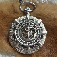 Mechanical pocket watch, men's pocket watch, nautical theme, front case is mounted with ships anchor in ships wheel