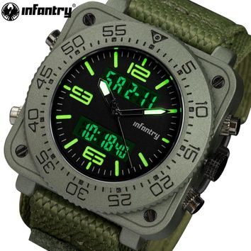 INFANTRY Mens Watches Top Brand LED Analog Digital Military Square Face Sports Watch Waterproof Nylon Army Quartz Wristwatches