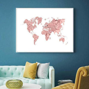 Best gold world map poster products on wanelo rose gold map of the world gold rose world map nursery decor publicscrutiny Image collections