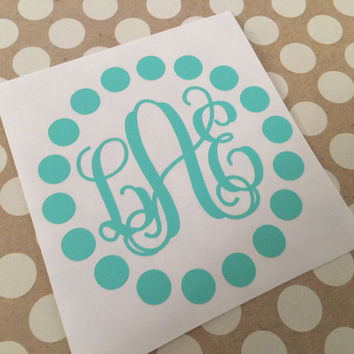 Polka Dot Fancy Script Monogram |Vine Dotted Monogram | Laptop Monogram  | Car Monogram | Notebook Monogram