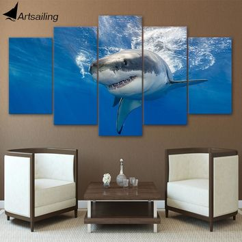 HD Printed 5 Piece Canvas Art Abstract Shark Painting Blue Ocean