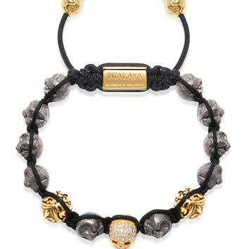 Men's Beaded Bracelet with Iron Pyrite Skulls and Gold
