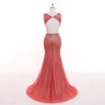 Red V-neck Beading Crystal Mermaid Zipper Trumpet Backless Bling Evening Dress luxury Party Gown Prom Dress