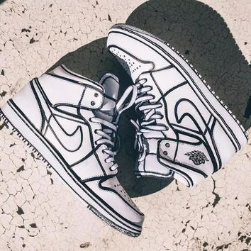 Air Jordan 1 Comics 3D Pencil Graffiti Customize Sneakers Sport Shoes