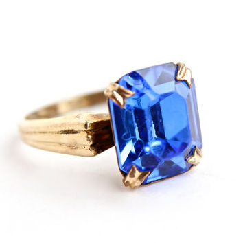 Vintage Art Deco 10k G.F. Ring -  Size 7 Sapphire Blue Glass Stone Costume Jewelry / 1920s 1930s
