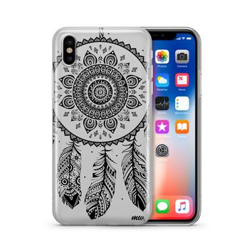 Black Henna Ojibwe Dreamcatcher - Clear TPU Case Cover Phone Case