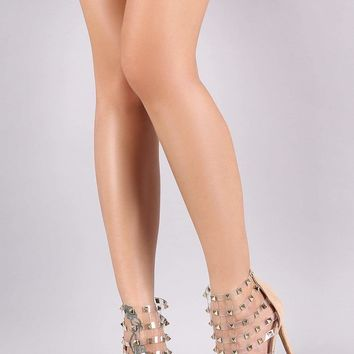 Liliana Studded Clear Caged Stiletto Heel