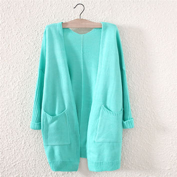 Candy Color Women's Comfortable Soft Green Cardigan with Pockets