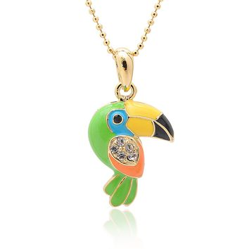 Gold Plated Colorful Parrot Necklace