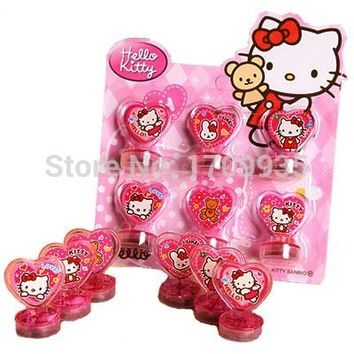 New Hello Kitty Toys Action Figure Dolls For Children Boys Girls Kids Gifts cartoon stamps sets Seal Stamper Set 6pcs/lot