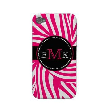 Hot Pink Zebra Print iPhone 4 Case Mate from Zazzle.com