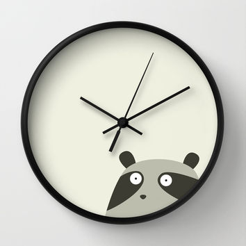 Raccoon and cats Wall Clock by Fuzzorama