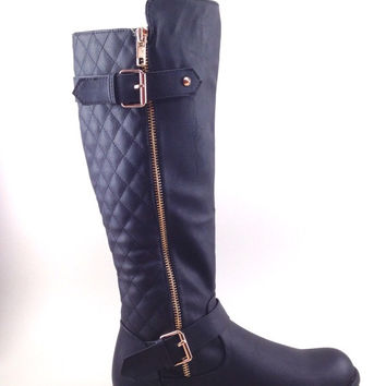 Black Boots with Side Zipper and Quilt Design