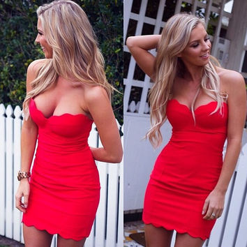 Pure Color Strapless Sleeveless Bodycon Short Dress