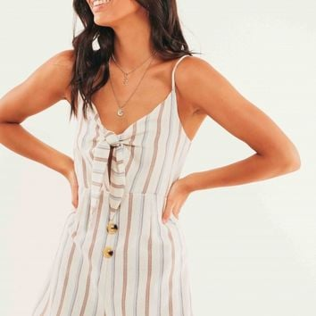 Arica Playsuit - Beige Stripe