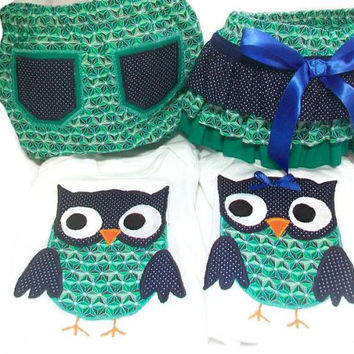 Twin Boy and Girl Outfit - Twin Baby Clothes - Owls for Twins -  Twin Bodysuit and Diaper Cover Set - Twin Boy and Girl Gift Set
