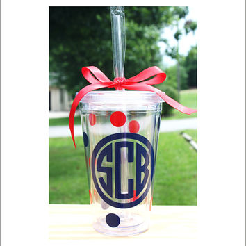 Monogram Acrylic Tumbler Circle Monogram Cup 16 oz Personalized Preppy Housewares Cup Kitchen Accessory Gift Everything Else