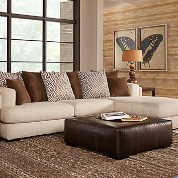 Eagleton Cream 2 Pc Sectional - Living Room Sets (Beige)