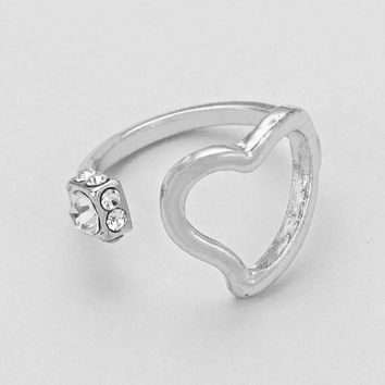 Open Cuff Heart Ring Silver