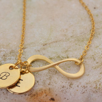 Personalized Infinity necklace, Initial Infinity Necklace, Gold filled Infinity necklace with initial discs, Family necklace 14k gold filled