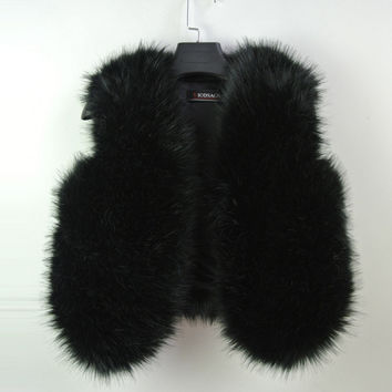 Artificial fur vest coat flush Black