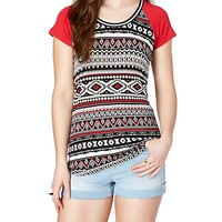 Red Aztec Sporty Striped Scoop Neck Tee