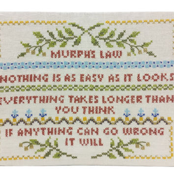 Murphy's Law Cross Stitch Sampler, Completed, Vintage Needlework Handmade Art, Wall Hanging, Linen Crewel Embroidery Needlecraft, Unframed