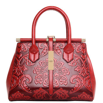 Flower Embossed Structured Tote Bag - Red