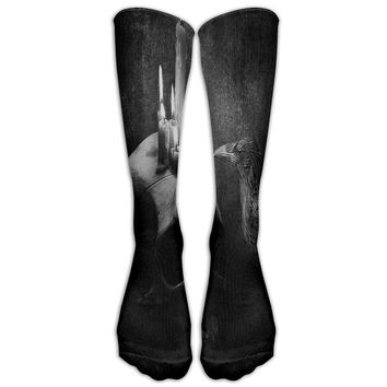 Skull Novelty Cotton Knee High All-Over Printed Socks