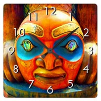 Cute, fun wild fierce carved wood totem face photo square wall clock