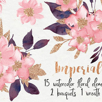 Imperial | coral blush, watercolor clipart, boho florals, bouquets, Digital Graphics, flowers clip art, pink flowers, blush