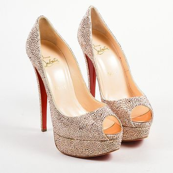 HCXX Pink Christian Louboutin Crystal   Lady Peep Strass 150   Pumps
