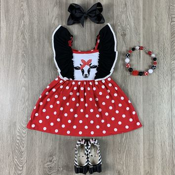 RTS Red Cow Bandana Red With White Polka Dot & Wing Sleeves D34