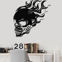 Vinyl Wall Decal Skull Fire Skeleton Teen Room Decor Stickers Unique Gift (ig3332)