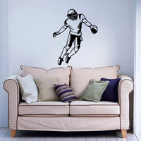 Football Player Decals Wall Sticker Sport Sportsman Decals Wall Vinyl Sticker Interior Home Decor Family Art Wall Decor Bedroom Mural SV5971