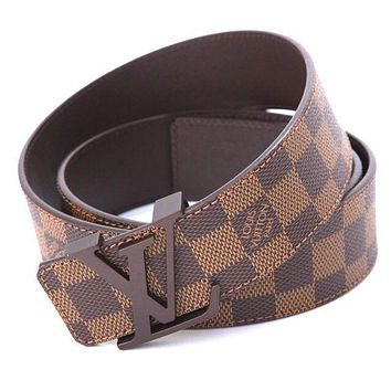 LOUIS VUITTON $490 Retail Price Initials Damier Ebene Canvas Leather Belt 30/32 Tagre™