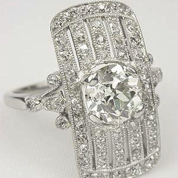 Antique Reproduction Ring  , 4.8CT White Topaz Antique Reproduction - Free Shipping