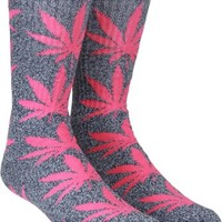 HUF Plantlife Crew Sock - navy heather/pink - Men's Clothing > Accessories > Socks