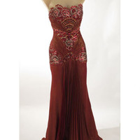 Strapless  Burgundy Old Hollywood Glamour Evening Dress-Vintage Style Gowns