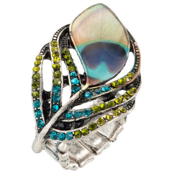 Peacock Plumes & Feathers Stretch Ring