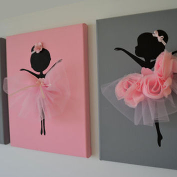 Ballerina Wall Art dancing ballerinas wall art. set of three from florasshop on etsy