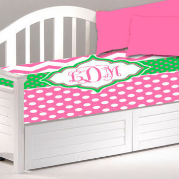 Daybed TWIN Custom Duvet Cover - Shown in Hot Pink with Lime Green Accent and Monogram