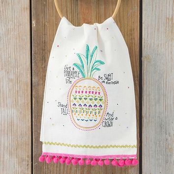 Pineapple Life Linen Hand Towel