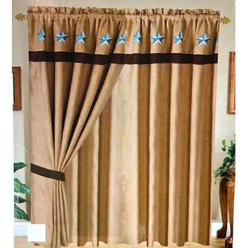 Rustic Western Embroidery Star Suede Curtain With Lining Set - Camel Brown Turquoise Star