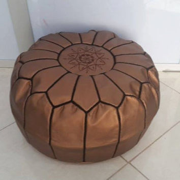 Moroccan Pouf Leather Ottoman Poof Pouffe pouffes hassock Footstool Beanbag leather pillow